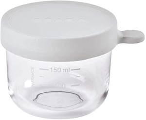 BÉABA - Glas - Aufbewahrungsbehälter für Babynahrung - Skalierung - Temperaturbeständig - Aufbewahrungsbehälter für Babys und Kleinkinder - 150 ml - Hergestellt in Frankreich - Leichter Nebel