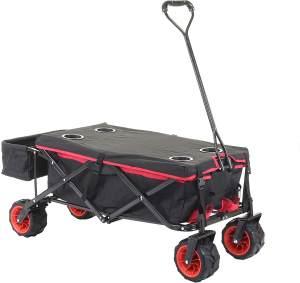 Faltbarer Bollerwagen HWC-E62, Handwagen, Geländereifen klappbar ~ mit Hecktasche/Abdeckung schwarz/rot