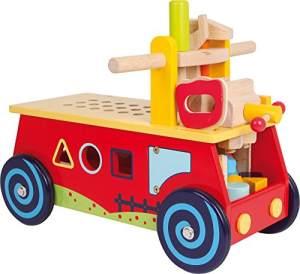 """small foot 1595 Motorikwagen """"Werkbank"""" aus Holz, mit allerlei Zubehör, Spielspaß und motorisches Lernen, ab 2 Jahre"""