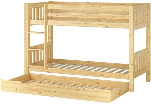 Erst-Holz 60.06-09 Etagenbett 90x200 cm, natur, Kiefer massiv, inkl. Rollroste und Gästebett