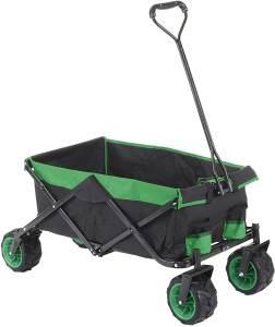 Faltbarer Bollerwagen HWC-E62, Handwagen, Geländereifen klappbar ~ ohne Hecktasche/Abdeckung schwarz/grün