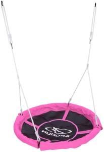 Hudora 72148 'Nestschaukel 110', ab 3 Jahren, Kunststoffgeflecht Ø 110 cm, höhenjustierbar, max. belastbar bis 100 kg, pink