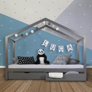 Kinderbett Hausbett 90x200 Kinderhaus Spielbett Holzbett Grau Bettkasten