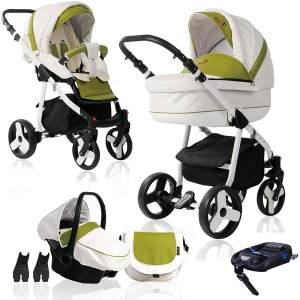 Bebebi Fizzy | ISOFIX Basis & Autositz | 4 in 1 Kombi Kinderwagen | Farbe: Avocado Hartgummi