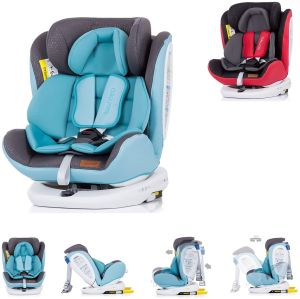Chipolino Kindersitz Tourneo Gruppe 0+/1/2/3 (0-36 kg), Isofix, 360° drehbar, Farbe:grau-blau