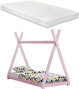 [en.casa] Tipi-Bett Rosa 90x200 cm, inkl. Lattenrost und Matratze