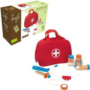 Jouéco Arzttasche mit Zubehör, 8-teilig für Kinder Spielzeug Rollenspiele Arzt Krankenschwester