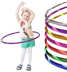 hoopomania Kinder Glamour Hula Hoop Reifen, Glitter-Violett-Pink, 60 cm