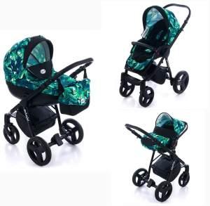 Lux4kids Kombikinderwagen 3 in 1 Tropical inkl. Babywanne, Babyschale und Isofix