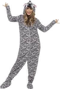 Smiffys, Unisex Zebra Kostüm, All-in-One mit Kapuze, Größe: M, 55003