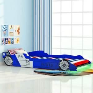 vidaXL Kinderbett mit LED im Rennwagen-Design 90 x 200 cm Blau