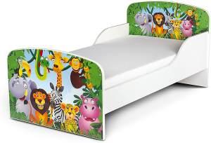 Leomark 'Dschungel Tiere' Kinderbett 140x70 mit Matratze weiß