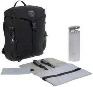 LÄSSIG Baby Wickel-/Wanderrucksack mit Wickelunterlage, Kinderwagenbefestigung, Flaschenwärmer wasserabweisend nachhaltig produziert/Outdoor Backpack black