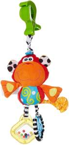 Playgro Kinderwagenanhänger Affe, Ab 0 Monate, Dingly Dangly Curly the Monkey, Rot, 40138