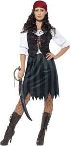 Smiffys 45491S - Damen Piraten Werftarbeiterin Kostüm, Shirt, Weste, Rock, Gürtel und Kopftuch, Größe: 36-38, blau