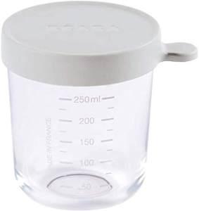 BÉABA - Glas - Aufbewahrungsbehälter für Babynahrung - Skalierung - Temperaturbeständig - Aufbewahrungsbehälter für Babys und Kleinkinder - 250 ml - Hergestellt in Frankreich - Leichter Nebel