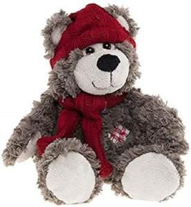Enesco–770767–Kalidou–Plüsch Bär mit Mütze–Schal Rot