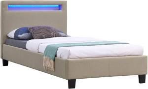 CARO-Möbel 'HIMALAYA' Polsterbett mit LED 90 x 200 cm, beige