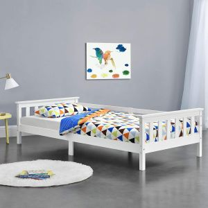en.casa Kinderbett aus Kiefernholz mit Lattenrost und Rausfallschutz, 90x200 cm, weiß