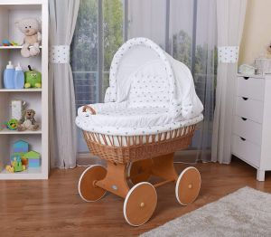 WALDIN Stubenwagen-Set mit Ausstattung, Gestell/Räder natur lackiert, Ausstattung weiß/Sterne-grau
