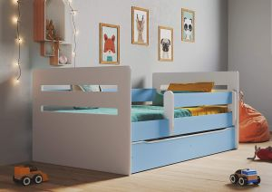 Kinderbett Jugendbett Blau mit Rausfallschutz Schubalde und Lattenrost Kinderbetten für Mädchen und Junge - Tomi 80 x 160 cm