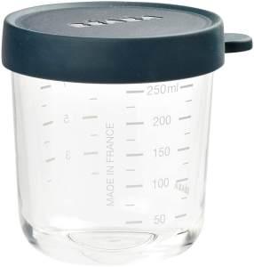 BÉABA - Glas - Aufbewahrungsbehälter für Babynahrung - Skalierung - Temperaturbeständig - Aufbewahrungsbehälter für Babys und Kleinkinder - 250 ml - Hergestellt in Frankreich - Dunkelblau