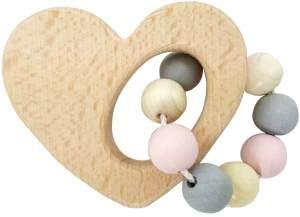 Hess Holzspielzeug 11113 - Greifrassel Herz aus Holz, nature rosa