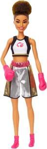 Barbie GJL64 - Brünette Barbie Boxerin-Puppe mit Boxoutfit und pinkfarbenen Boxhandschuhen, Spielzeug ab 3 Jahren
