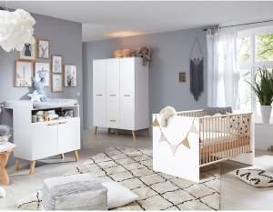 Trendteam 'Mats' 3-tlg. Babyzimmer-Set, weiß, aus Bett 70x140, 3-trg. Kleiderschrank und Wickelkommode