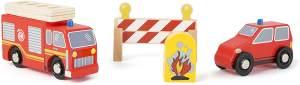 small foot 10805 World Feuerwehr-Set aus Holz, Zwei Feuerwehrautos einem Feuer und Straßensperren, abnehmbare Leiter des Löschfahrzeugs, kompatibel mit Allen gängigen Holzeisenbahnen