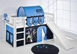 Lilokids 'Jelle' Spielbett 90 x 200 cm, Star Wars the Clone Wars, Kiefer massiv, mit Rutsche und Vorhang