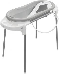 Rotho Babydesign Badeset mit großer Wanne und Funktionsständer, Ideal für 2 Kinder, 0-12 Monate, Stone Grey (Grau)/Weiß, Top Xtra Badestation, 21041 0293 01