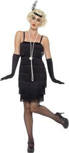 Smiffys 45498M, Damen Flapper Kostüm Kurzes Kleid Haarband und Handschuhe,schwarz,40-42(HerstellerGröße:M)