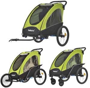 Tiggo Kinderwagen-Fahrradanhänger 2in1 Grün