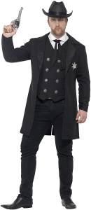 Smiffys 26530L - Fever Herren Sheriff Kostüm, Größe: L, schwarz