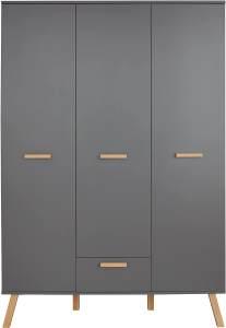 Trendteam 'Mats' 3-trg. Kleiderschrank, grau, mit 2 Kleiderstangen, Schublade und 6 Ablagefächern