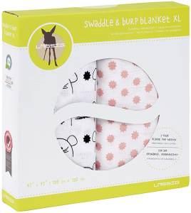 LÄSSIG 'Swaddle & Burp Blanket XL' 2-er Pack Pucktücher Little Chums Mouse, rosa