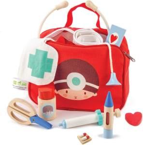 Tasche Arzt und Krankenschwester aus rotem Holz 12-teilig