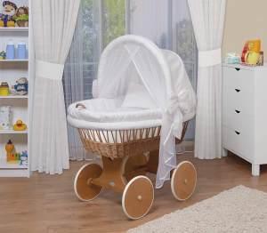 WALDIN Stubenwagen-Set mit Ausstattung, Gestell/Räder natur lackiert, Ausstattung weiß