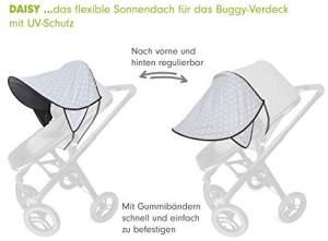 PRIEBES DAISY Sonnendach UV-Schutz 50+   Sonnensegel Sonnenschutz Sonnenverdeck für Sportwagen, Buggys, Kinderwagen   100% Baumwolle   beidseitig verwendbar, Design:stars grau