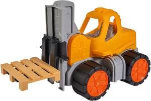 BIG - Power-Worker Gabelstapler - Spielzeug Auto ideal für Unterwegs, Reifen aus Softmaterial, Hubgerüst mit Kippfunktion und höhenverstellbaren Gabelzinken, sonnengelb, für Kinder ab 2 Jahren