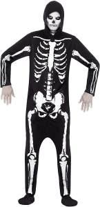 Kostüm Skelett Schwarz mit Kapuzenoverall, Small