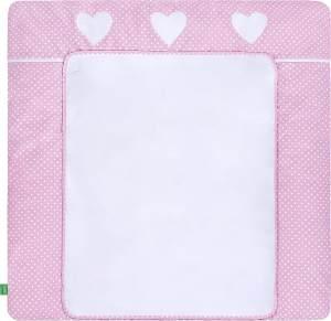 LULANDO Wickelauflage mit 2 abnehmbaren und wasserundurchlässigen Bezügen 75x80 cm - Rosa/Weiße Pünktchen und Herzen