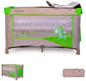 Reisebett Zebra höhenverstellbar, mit Wickelauflage, Mobile, Seiteneingang (Grün)