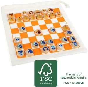 Small Foot 12021 Schach Reisespiel, FSC 100%-Zertifiziert, mit praktischem Beutel für Transport und Spielfeld, Dame-Spiel auch möglich Spielzeug, Mehrfarbig