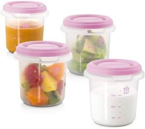 Miniland Frischebehälter Set, Frischhaltedosen für Babynahrung, 4 x 250ml, rosa