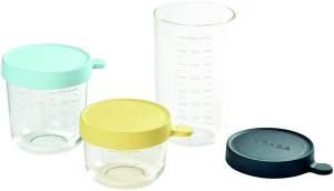 BÉABA - 3-er Set Glas - Aufbewahrungsbehälter für Babynahrung - Skalierung - Temperaturbeständig - Aufbewahrungsbehälter für Babys und Kleinkinder - 150 ml + 250 ml + 400 ml - Grün/leichter Nebel