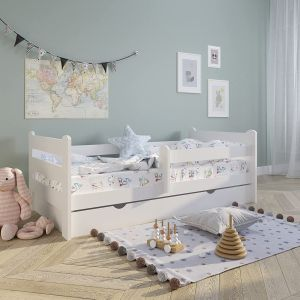 Kinderbett Voll-Holz 160x80 mit Rausfallschutz, Lattenrost & Schublade in weiß Kiefer 80 x 160 Mädchen Jungen Bett Skandi