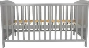 Puckdaddy 'Mika' Babybett 70x140 cm, grau, 3-fach höhenverstellbar, Schlupfsprossen