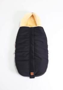 Kaiser 6540825 ALLEX, Lammfell Kinderwagen Fußsack, schwarz, 1.1 kg, universell einsetzbar
